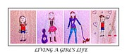Dog Walking Drawings Prints - Young Girl - Living a Girls Life - Childs Drawing - Childrens Art Print by Barbara Griffin and Jaden