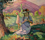 Country Scene Paintings - Young Girl picking Flowers by Henri Lebasque