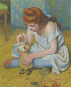 Famous Artists - Young Girl Playing with a Doll by Federico Zandomeneghi