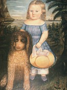 American Revolution Paintings - Young Girl With Her Dog by Susan C Waters