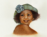 Watercolorist Framed Prints - Young Girl with Straw Hat Framed Print by Nan Wright