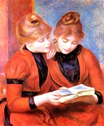 Redheads Framed Prints - Young Girls Reading Framed Print by Pierre-Auguste Renoir