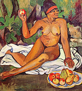 Red Female Nude Paintings - Young Half Caste Woman by Marie Clementine Valadon