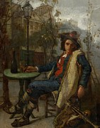 Lounging Painting Posters - Young Italian Street Musician Poster by Thomas Couture