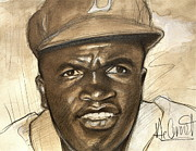 Racism Paintings - Young Jackie Robinson by Gregory DeGroat
