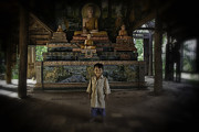 Cambodia Prints - Young Khmer boy at Old Temple Print by David Longstreath