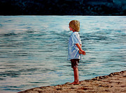 Playing Painting Originals - Young Lad by the Shore by Christopher Shellhammer