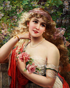Women Children Framed Prints - Young Lady With Roses Framed Print by Emile Vernon