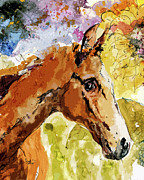 Horses Mixed Media Prints - Young Life Horse Portrait Print by Ginette Callaway