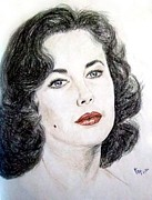 Elizabeth Taylor Drawings - Young Liz Taylor Portrait by Jim Fitzpatrick