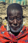 Antiquated Framed Prints - Young Maasai Woman Framed Print by Amyn Nasser