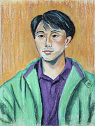 Young Man Pastels Posters - Young Man in a Green Jacket Poster by Asha Carolyn Young