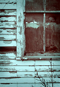 Hiding Metal Prints - Young Man Looking out Window of Abandoned Building Metal Print by Jill Battaglia