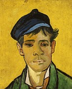 Green Jacket Framed Prints - Young Man with a Hat Framed Print by Vincent Van Gogh