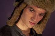 Young Man Photo Originals - Young Man With Fur Hat by Gloria De los Santos