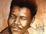 Degroat Painting Originals - Young Mandela by Gregory DeGroat