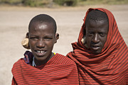 Northern Africa Framed Prints - Young Masai Herders Framed Print by David Litschel