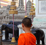 Asian Photos - Young Monk with Chang Statue - Grand Palace in Bangkok Thailand - 01131 by DC Photographer