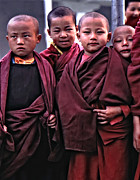 Buddhism Art - Young Monks II by Steve Harrington