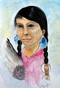 Shawl Paintings - Young Native American Woman by Linda Waidelich