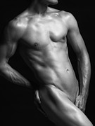 Naked Male Art Photos - Young nude man slim fit body black and white by Oleksiy Maksymenko