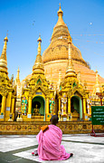 Rangoon Art - Young nun praying at the Shwedagon Paya - Yangoon by Luciano Mortula