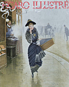 Street Scene Drawings - Young Parisian Hatmaker by Jean Beraud