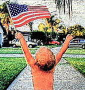 American Flag Mixed Media - Young Patriot by Michael Knight
