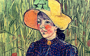 Vangogh Framed Prints - Young Peasant Girl in a Straw Hat sitting in front of a wheatfield Framed Print by Vincent van Gogh