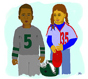 Philadelphia Eagles Drawings - Young Phans by Pharris Art