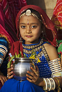 Bracelets Framed Prints - Young Rajathani At Mewar Festival - Udaipur India Framed Print by Craig Lovell