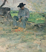 Contemplative Metal Prints - Young Routy at Celeyran Metal Print by Henri de Toulouse-Lautrec