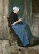 Chair Painting Metal Prints - Young Scheveningen Woman Knitting Facing Right Metal Print by Vincent van Gogh