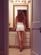 Nightdress Posters - Young sexy woman at a bathroom mirror Poster by Oleksiy Maksymenko