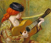 Guitar Painting Framed Prints - Young Spanish Woman with a Guitar Framed Print by Pierre Auguste Renoir
