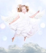 Innocent People Prints - Young sweet angel flying Print by Jennifer Huls
