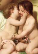 Enfants Prints - Young woman contemplating two embracing children Detail II Print by William Bouguereau