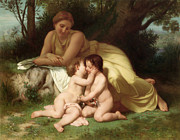 Young Woman Contemplating Two Embracing Children Print by William Bouguereau
