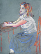 Young Woman Pastels - Young Woman Dreaming and Yearning with a Cup of Coffee by Asha Carolyn Young