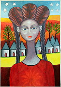 Tribal Art Paintings - Young Woman From the Village by Ephrem Kouakou