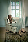 Young Woman In A Chair Print by Jill Battaglia