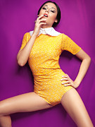 Young Woman In Bright Yellow Vintage Style Clothes Print by Oleksiy Maksymenko