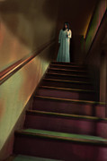 Candle Lit Prints - Young Woman in Nightgown on Stairs Print by Jill Battaglia