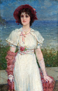 Famous Artists - Young Woman in White by the Sea by Edwin Austin Abbey