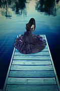 Distress Framed Prints - Young Woman on a Dock Framed Print by Jill Battaglia