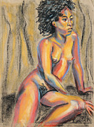 Black Curly Hair Pastels - Young Woman Resting and Contemplating by Asha Carolyn Young