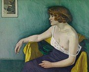 Nightgown Paintings - Young woman seated in profile by Felix Edouard Vallotton