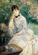 Garden Art Prints - Young Woman Seated on a Sofa Print by Berthe Morisot