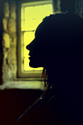 Craig Brown Art - Young woman silhouetted profile by Craig Brown