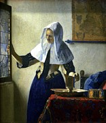Old Pitcher Painting Prints - Young Woman With A Water Pitcher Print by Johannes Vermeer